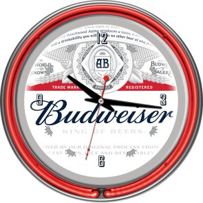 Budweiser Label Neon Clock