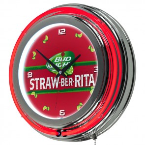 Bud Light Straw-Ber-Rita Neon Clock