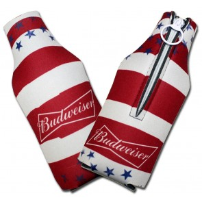 Budweiser Striped Collapsbile Bottle Koozies