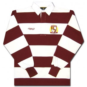 Guinness Burgundy Stripes Long Sleeve Rugby Shirt