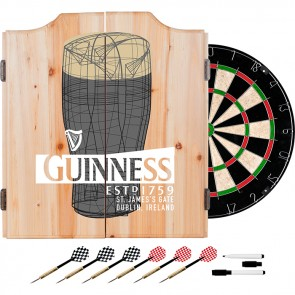 Guinness Pint Art Dart Set w/ Cabinet