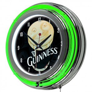 Guinness Smiling Pint Ad Neon Clock