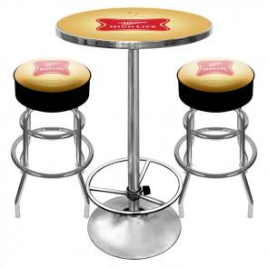Miller High Life Bar Stools & Table Set