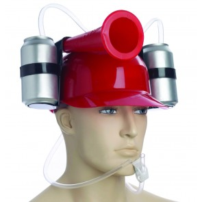 Beer Helmet : Red Drinking Hat w/ Horn