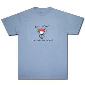 Life Is Crap T-Shirt : Beer Drinking Helmet Shirt