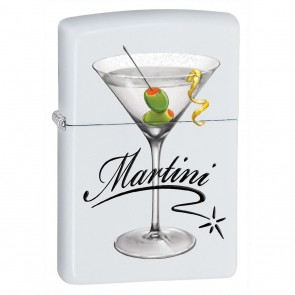 Liquor Zippo Lighter : White Matte Martini w/ Olive