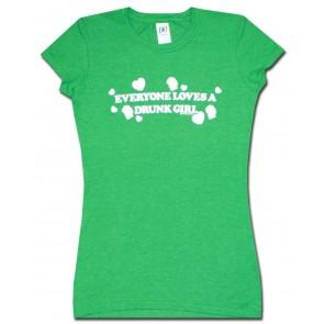 Beer Women's Babydoll : Green Drunk Girl Shirt