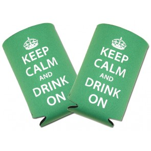 """""""Keep Calm Drink On"""" Collapsible Coozie Set"""