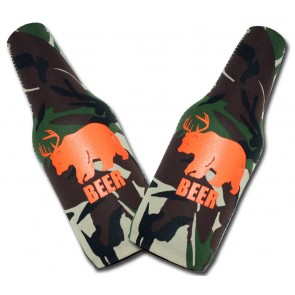Camo Half Deer Half Bear BEER Bottle Coozie Set