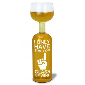 Wine Bottle Glass Time For One Glass