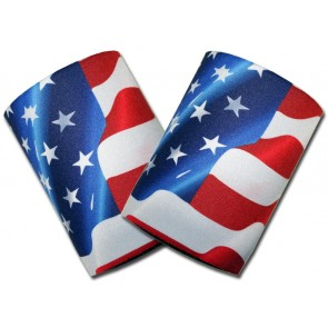 US Flag Waving Can Cooler Coozie Set