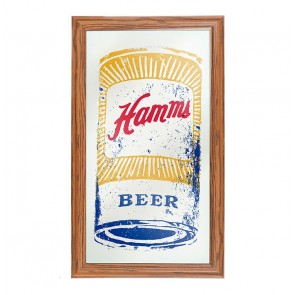 Hamm's Beer Can Art Bar Mirror
